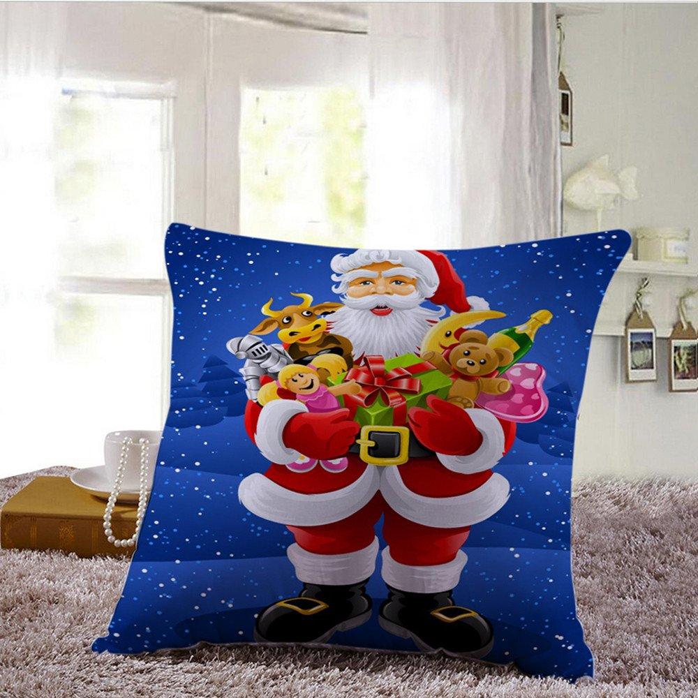 lilyyong feliz árbol de Navidad Papá Noel Muñeco de nieve Funda para cojín de lino sofá Blend Decoración para el hogar fundas de almohada, F, ...