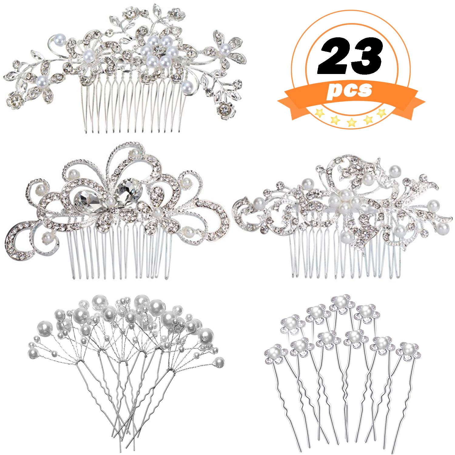 REVEW Set of 23pcs Bridal Hair Comb Wedding Hair Side Combs Bridal Head Pin Headpiece Crystal Pearls Flower Bride Bridesmaid