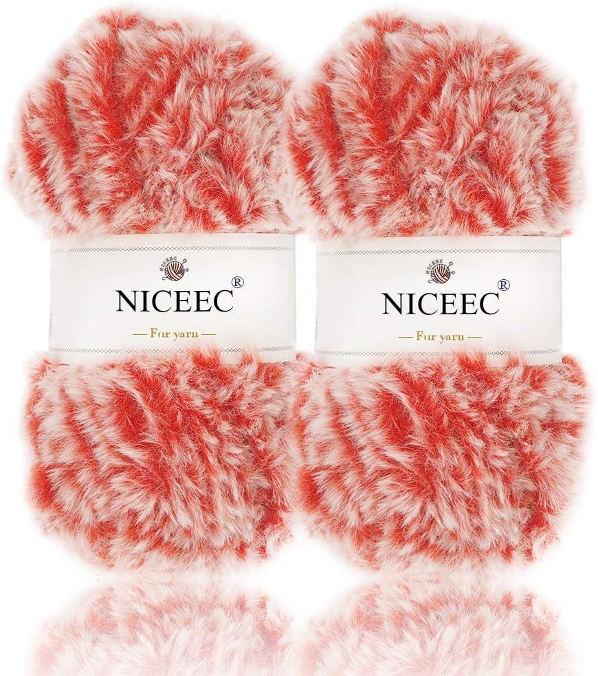 Lion Brand Yarn FUN FUR Eyelash Blue Orange Red Bulky crochet Knit Multi Color Craft