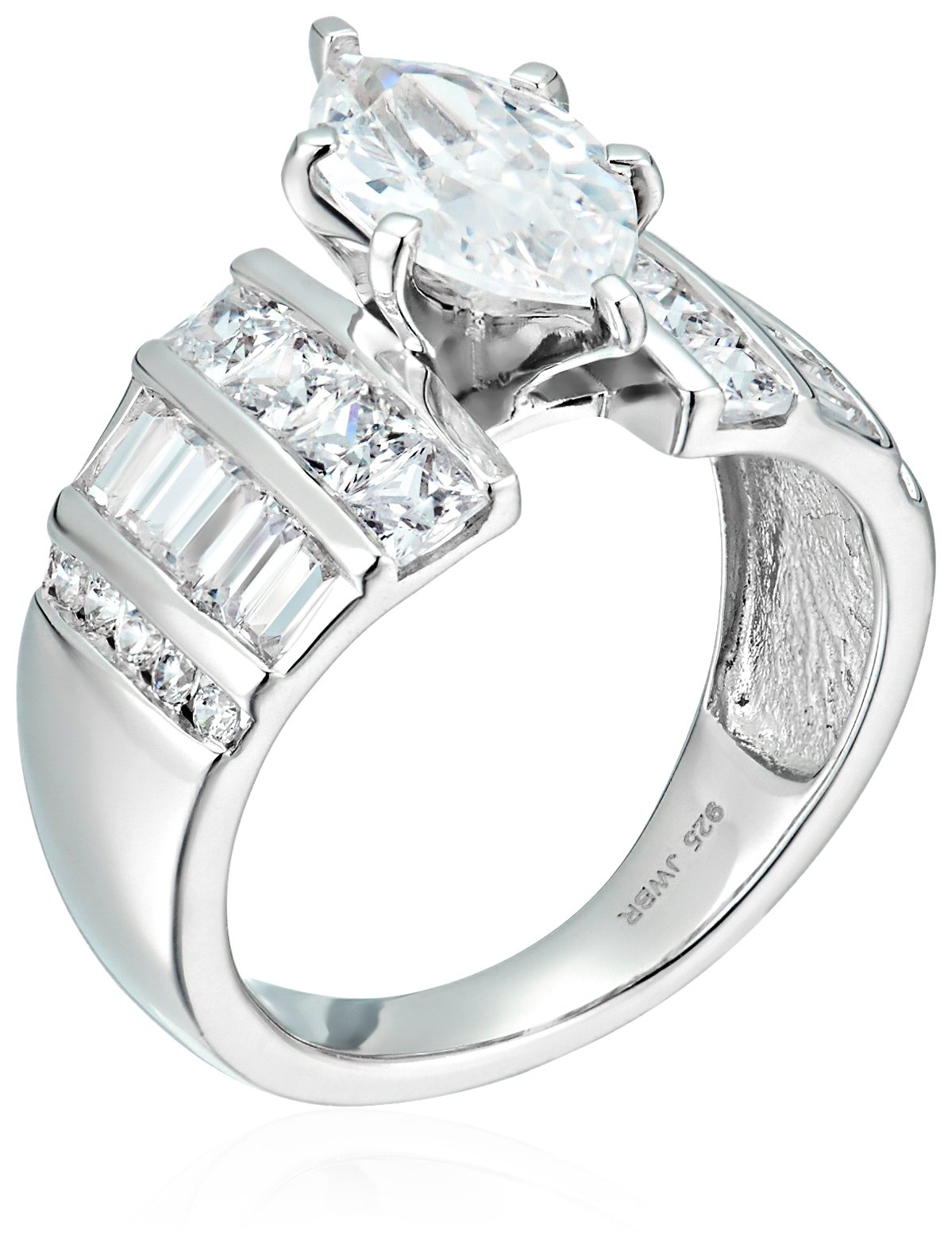 Sterling Silver Cubic Zirconia Marquise Cut Engagement Ring, Size 8 by Amazon Collection (Image #2)