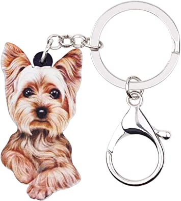 high quality keychain Art Dog Yorkshire Terrier silver covered keyring