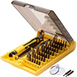 Upgrade 45 in 1 Precision Screwdriver Toolkit-JACKYLED Compact Disassembly Repair Bits with Handle Tweezer Extension Bar Suction Cup for Laptop Computer Phone iPhone Electronic Products and Appliances