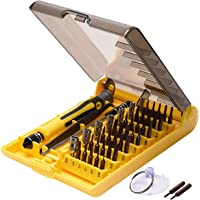45 in 1 Precision Screwdriver Toolkit-JACKYLED Mini Compact Disassembly Repair Bits with Handle Tweezer Extension Bar Suction Cup for Laptop Computer Phone iPhone6s/7/7p/8/8p Electronic Products