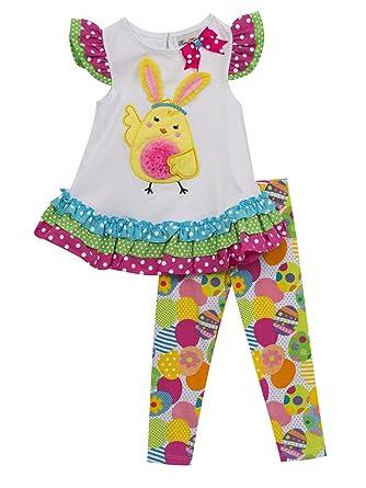 57388b62e90e7 Amazon.com: Rare Editions Girl's Easter Outfit Legging Set: Clothing