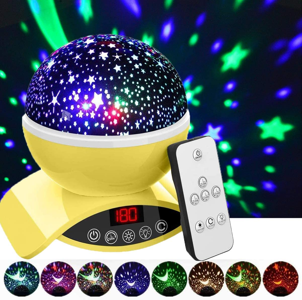 Elecstars Night Lights, Rechargeable Star Projector with Remote Control and Timer Auto Off Design, Rotating Projection Lighting Lamp, Room Decor. (Yellow)