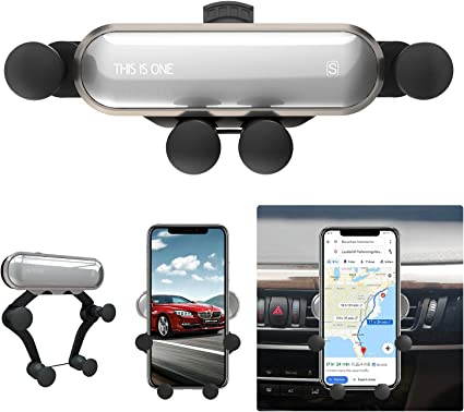 ICHECKEY Air Vent Cell Phone Car Mount Support Auto-Retractable Automatic Locking Clip Holder Universal for Smartphone 4.7-6.5 with Metal Frame Car Phone Holder