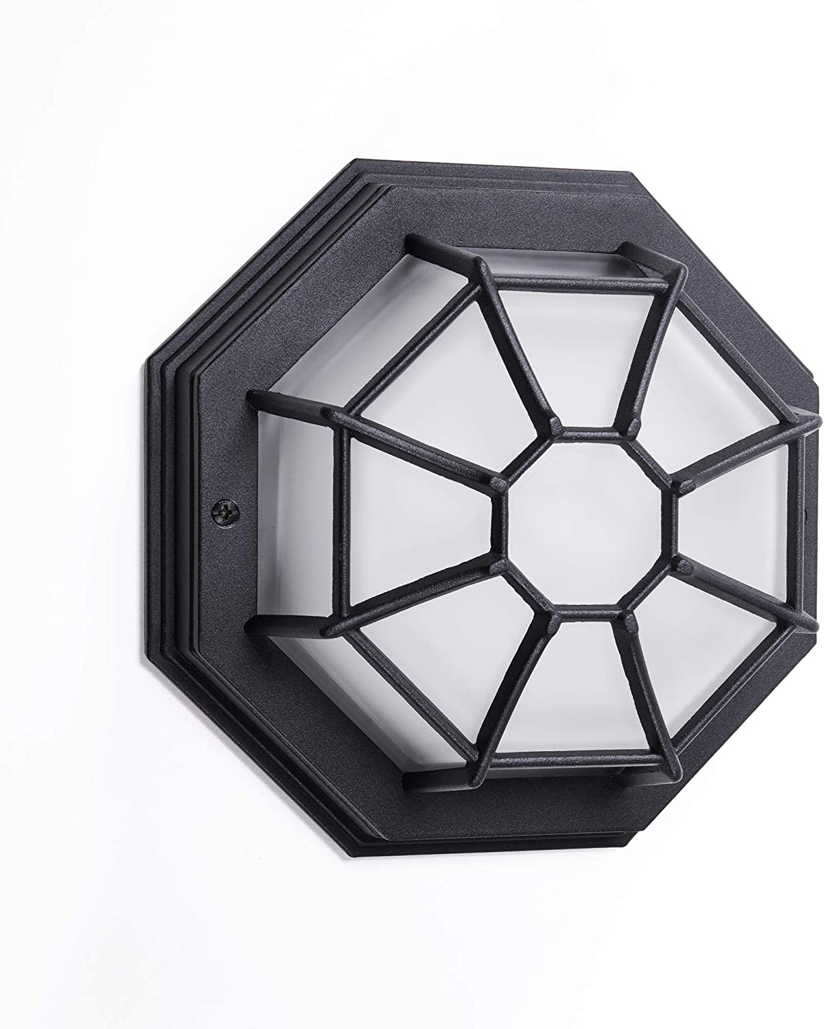 """CORAMDEO Outdoor 9"""" LED Nautical Wall or Ceiling Flush Mount Light, Wet Location, Built in LED Gives 75W of Light, 900 Lumens, 3K, Black Cast Aluminum with Frosted Glass Lens"""