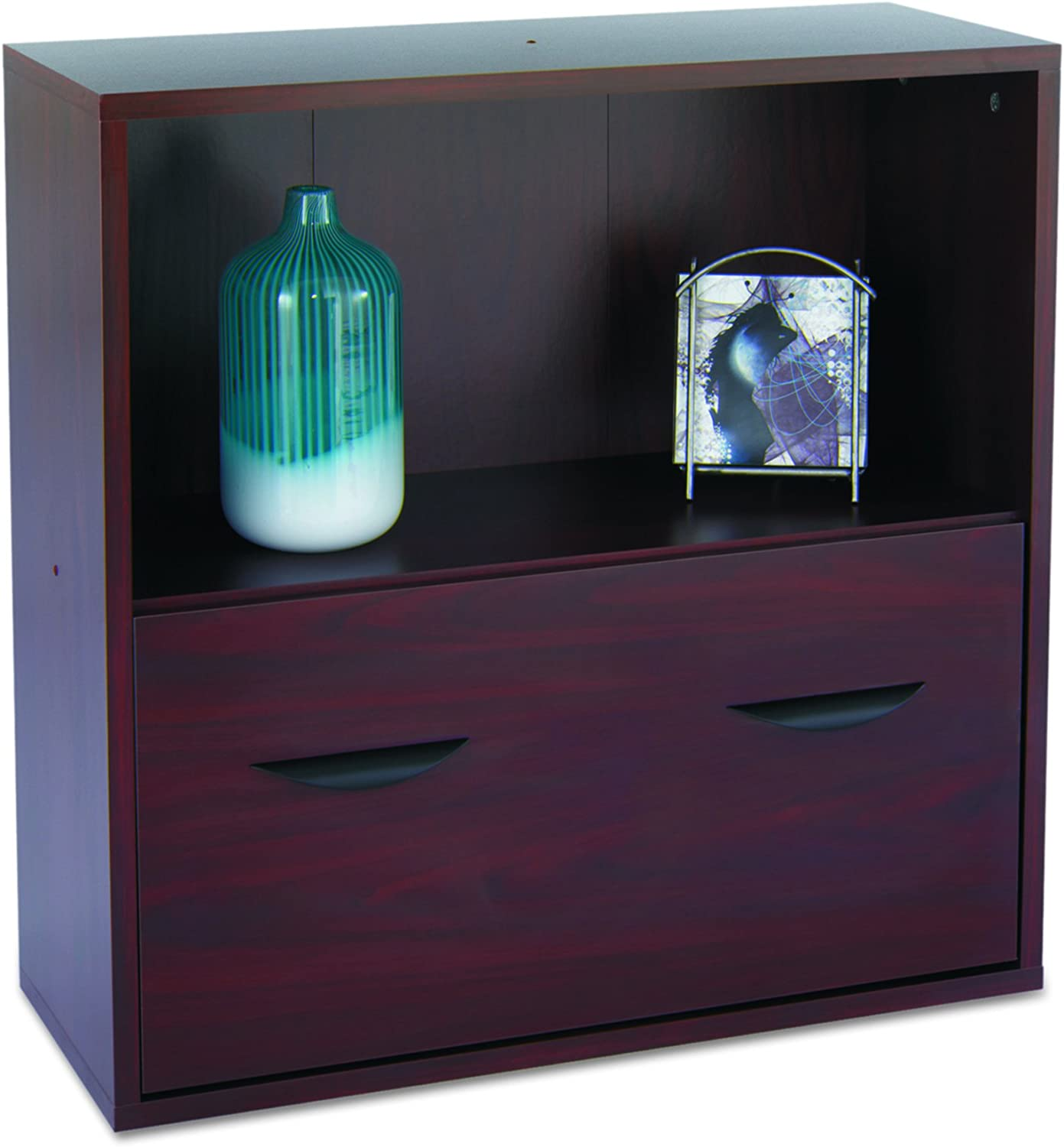 Safco Products Apres Modular Storage Shelf with Lower File Drawer, Mahogany