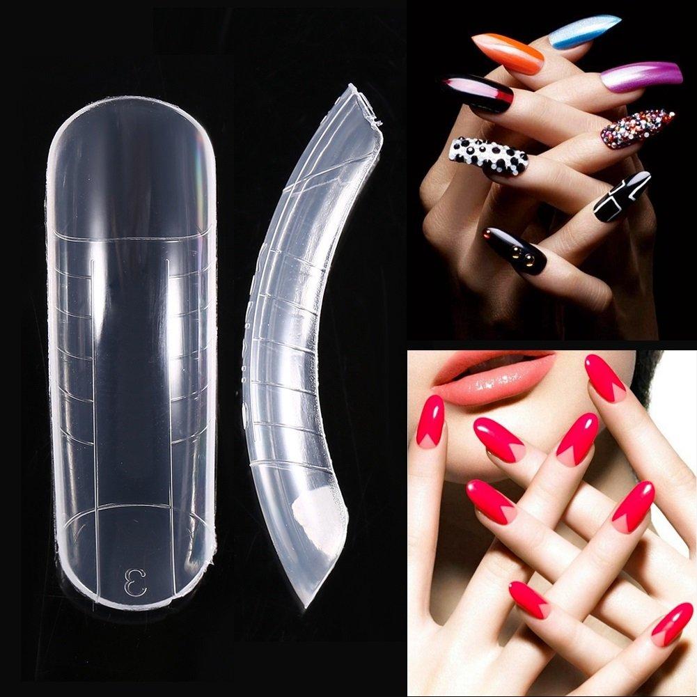 False Nails - Sistema Dual de extensión de la forma Consejos de uñas falsas, Nail Art Tips UV Gel DIY 12 tamaños con líneas, 120pcs: Amazon.es: Belleza