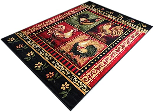 Rooster Style Area Rug 5 Ft. 2 In. X 7 Ft. 3 In. Design L-379