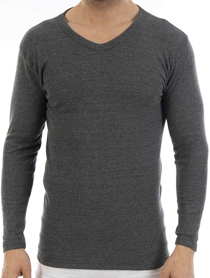 Pack de 3 Camiseta Interior Warm Hombre, de Manga Larga y Cuello de Pico. Modelo L150, colección Warm. Camiseta de algodón con perchado Interior Que aisla del frío Ligero.: Amazon.es: Ropa y