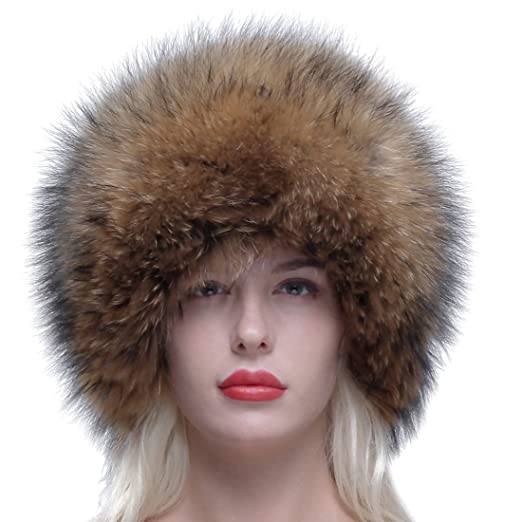 f4e4f1796bd URSFUR Russian Winter Cap Real Raccoon Fur Ushanka Trapper Hat with Fur Tail  at Amazon Women s Clothing store