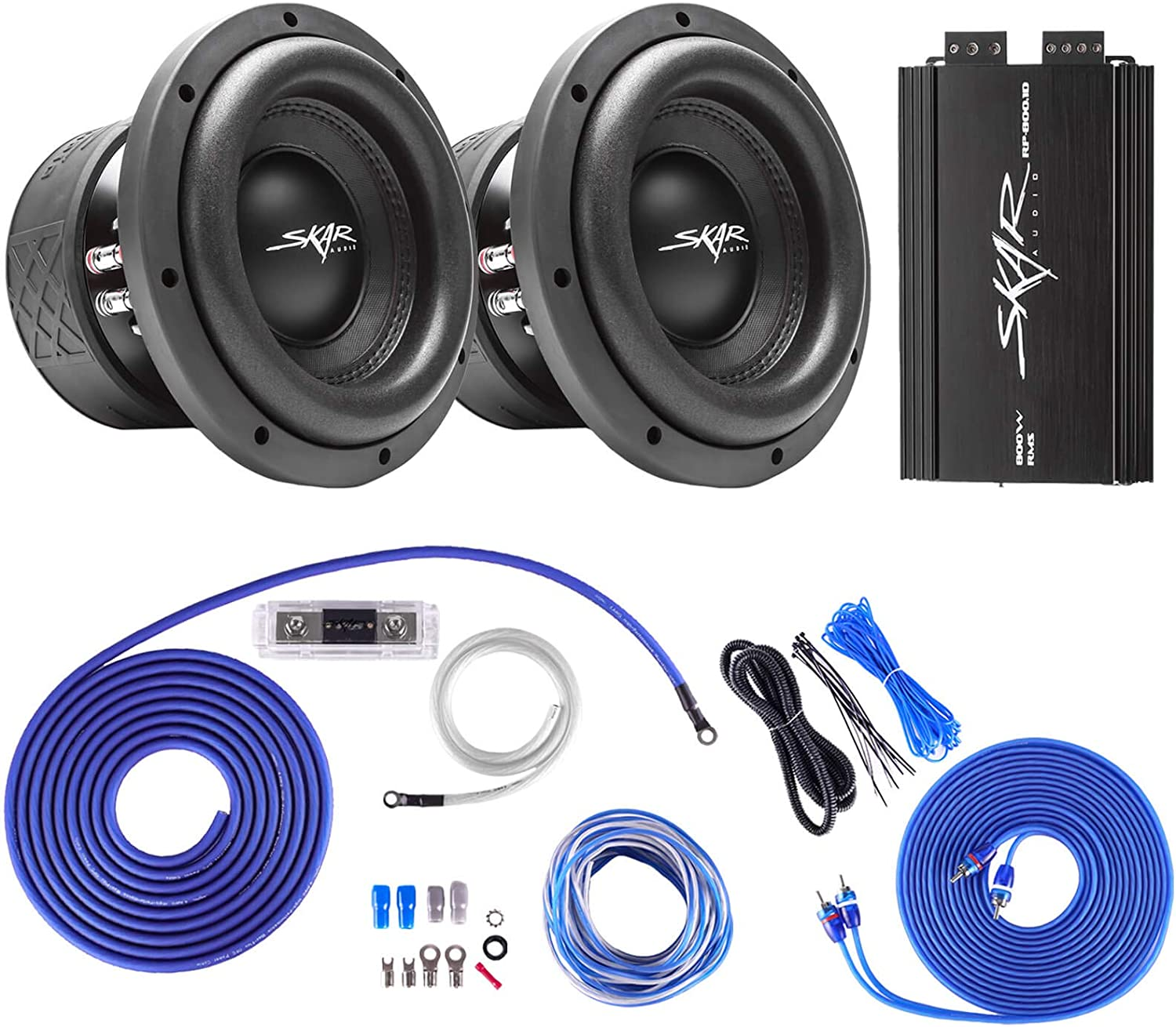 Skar Audio MA-8 D4 Dual 8 800W RMS Subwoofer Package with RP-800.1D Amplifier and 4 Gauge OFC Amp Wiring Kit