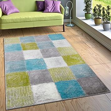 Paco Home Designer Teppich Wohnzimmer Ausgefallene Farbkombination Karo  Türkis Grün Grau, Grösse:60x100 Cm