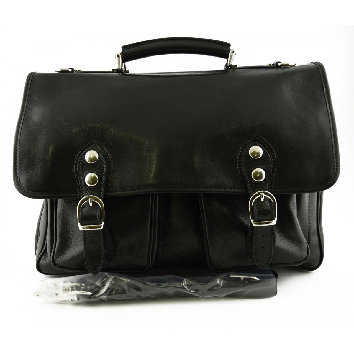 Made In Italy Business Briefcase In Genuine Leather 2 Compartments Color Black - Business Bag   B01LWUEOLF