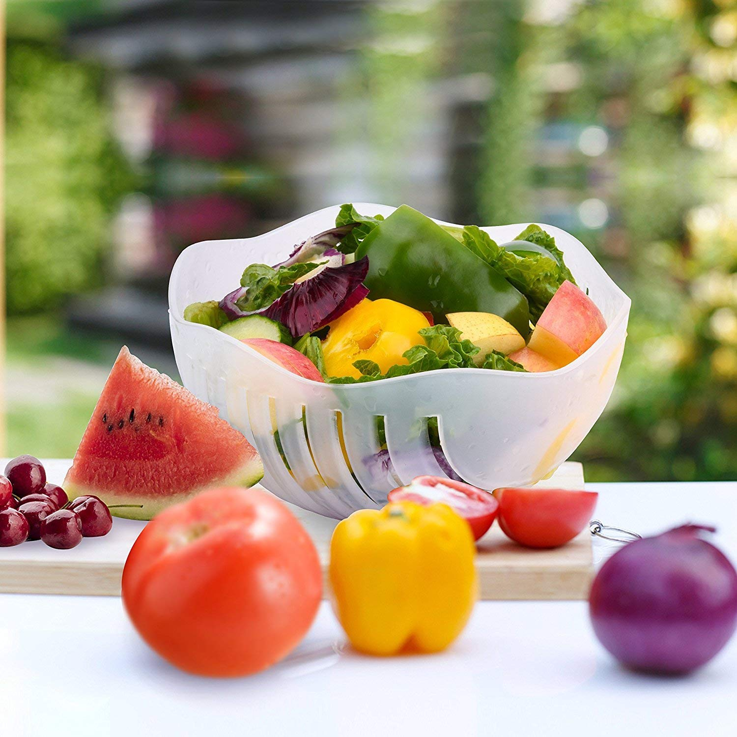 Salad Cutter Bowl 60 Seconds Easy Fresh Salad Cutter and Fast Fruit Vegetable Chopper Salad Maker by Accdata [Bonus Multi-Function Paring Knife] by Accdata (Image #6)