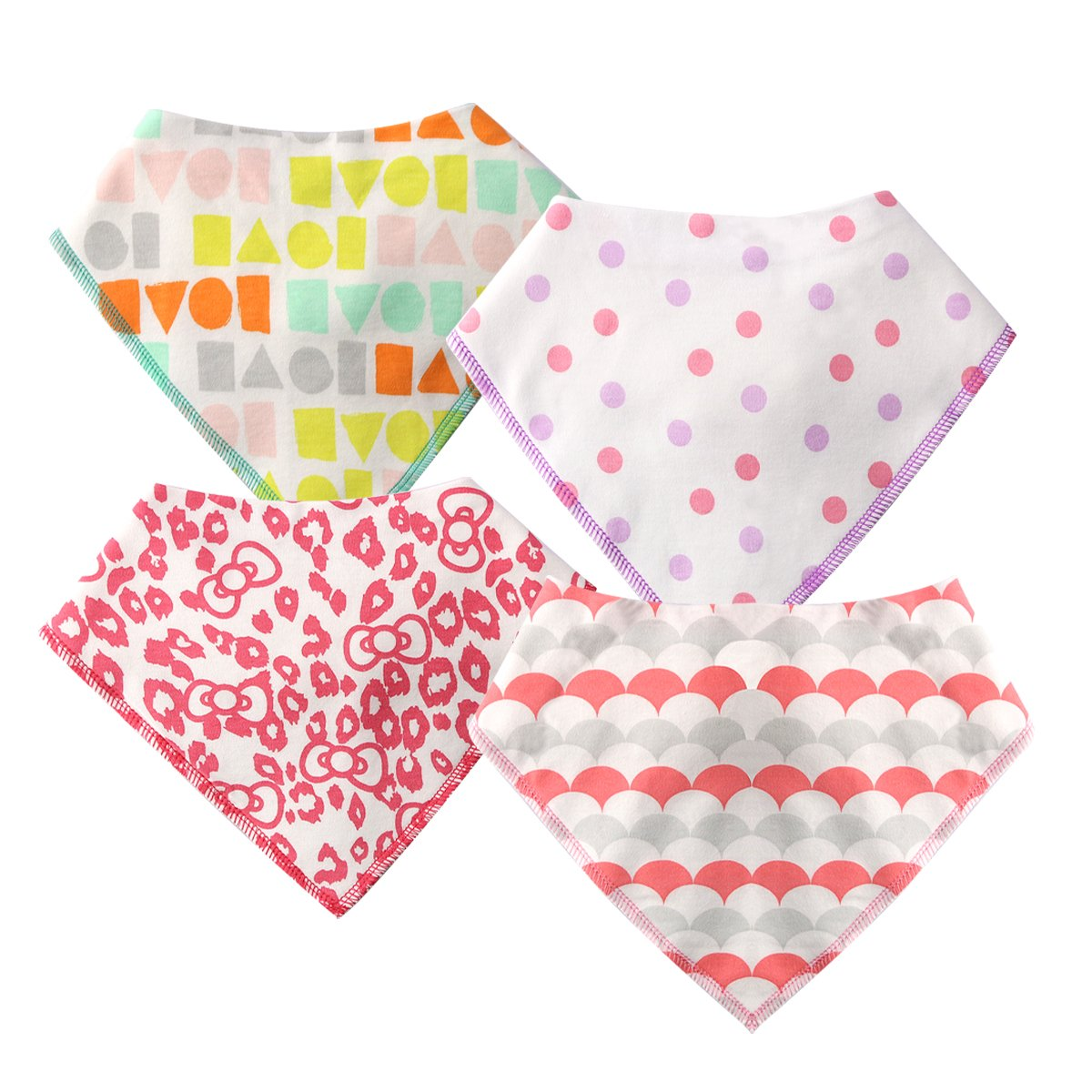Baby Bandana Bibs for Drooling & Teething - 4 Pack - by Marquebaby