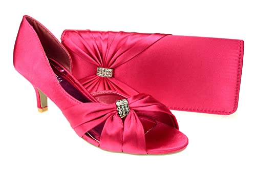 72c9f1278db250 Chic Feet Womens Hot PInk Wedding Party Prom Evening Low Heel Shoes   Matching  Bag -