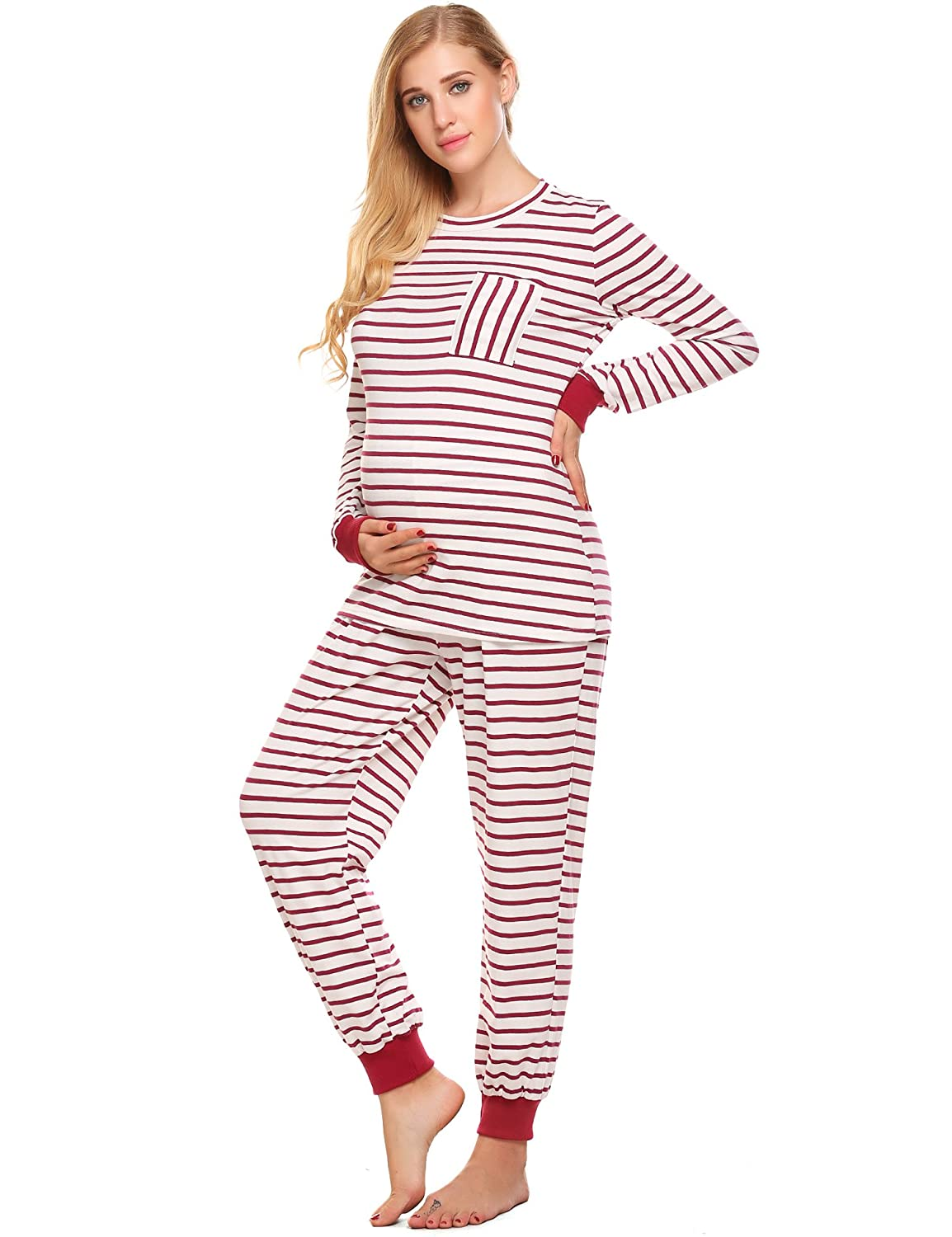 5eaf75d892353 Ekouaer Pregnant Women Stripe Pajama Set Soft Maternity&Nursing Cotton  Housewear(No Breastfeeding) EKK007404*