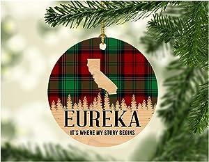 "Christmas Decorations Ornaments 2019 Eureka California IT's Where My Story Begin Xmas Present Funny Giff for Family New Home Gift Xmas Tree Decoration 3"" Flat Holiday Keepsake"