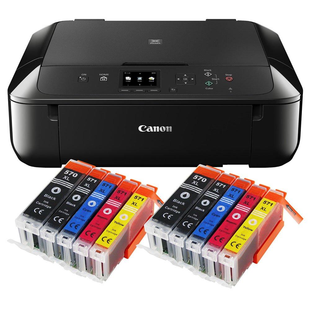 Drucker, Scanner, Kopierer, USB, WLAN, Apple AirPrint schwarz 5er Set IC-Office XL Tintenpatronen 570XL 571XL Canon Pixma MG5750 MG-5750 All-in-One Farbtintenstrahl-Multifunktionsger/ät
