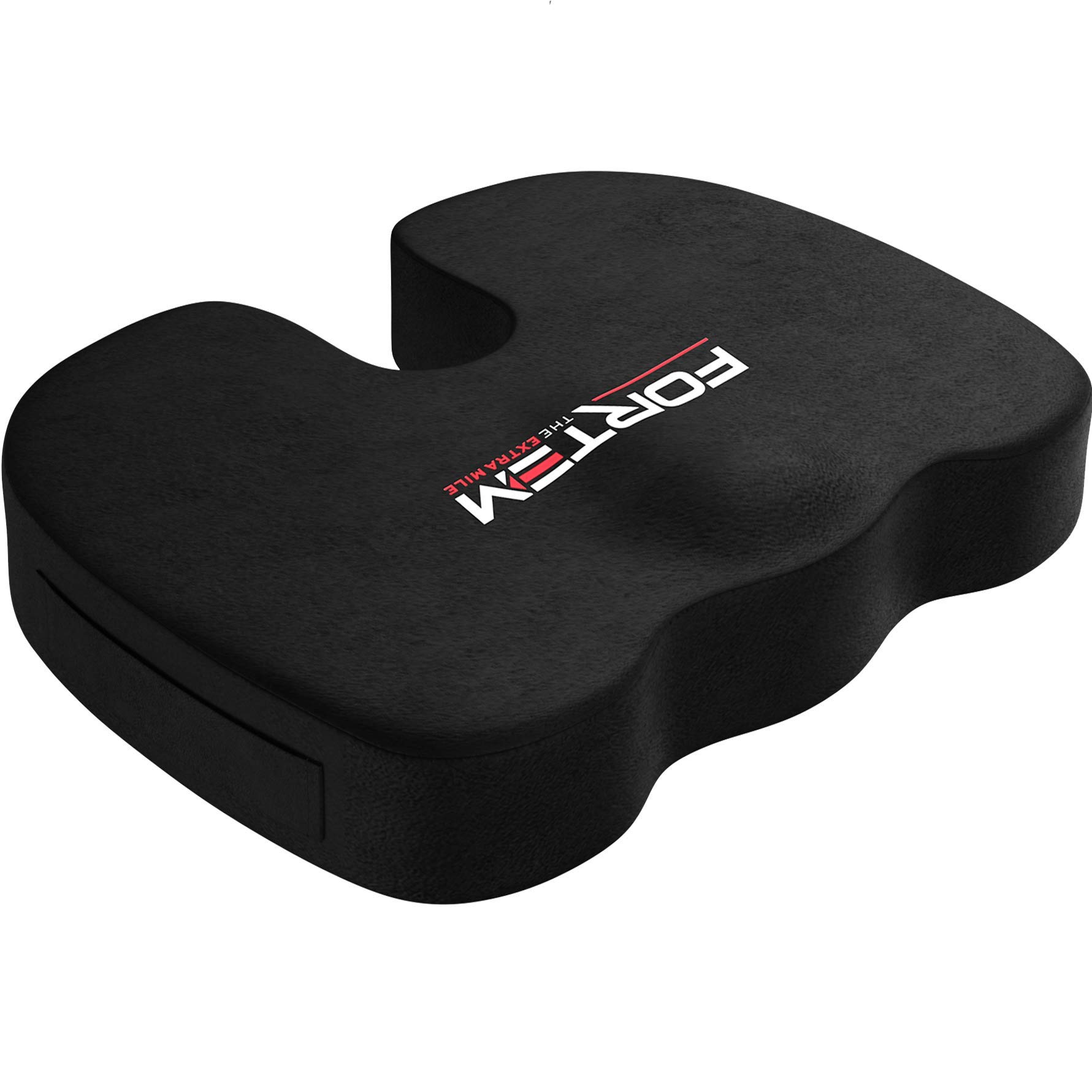 FORTEM Seat Cushion Pillow for Office Computer Chair, Car, Wheelchair, Memory Foam, Improves Posture, Non-Slip Bottom, Washable Cover (Black) by FORTEM