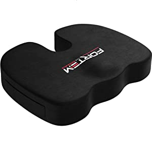 FORTEM Seat Cushion Pillow for Office Computer Chair, Car, Wheelchair, Memory Foam, Improves Posture, Non-Slip Bottom, Washable Cover (Black)