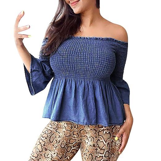 c7e1556c37be2 Women s Strapless Blouse Women s Off Shoulder Pleated Long Ruffled Sleeve  Blouse Shirt Top