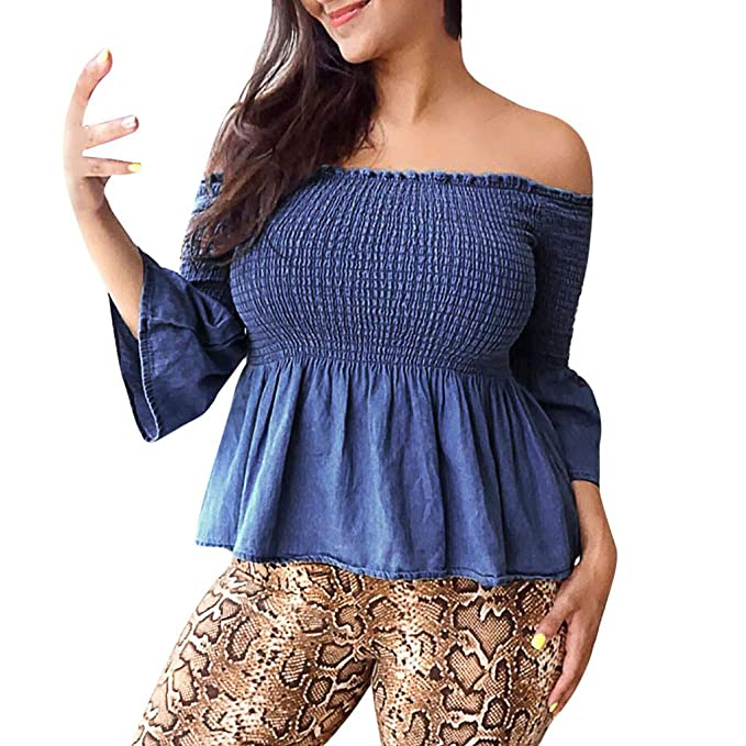 97ece3d2605 Big Size Women Sexy Off Shoulder Long Flare Sleeve Pure Color Elastic  Pleated Fitted Blouse Tops T-Shirt Pullovers Blue  Amazon.co.uk  Clothing