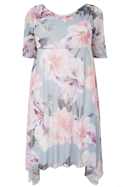 bb43ea717f8 Yours Women's Plus Size London & Pink Floral Midi Dress with Cowl Neck Size  34-
