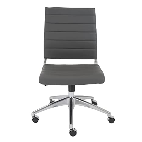Sensational Euro Style Axel Low Back Soft Leatherette Adjustable Armless Office Chair With Chromed Steel Frame Gray Gmtry Best Dining Table And Chair Ideas Images Gmtryco