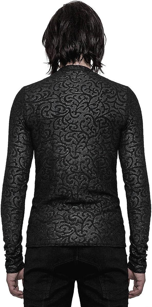 Punk Rave Mens Gothic Top Black Damask Long Sleeve T Shirt Romantic Vampire VTG
