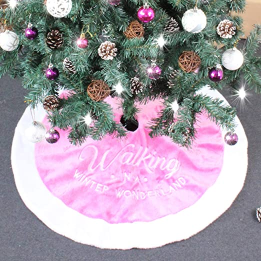 ShiyiUP Rosa Árbol de Navidad Falda de Decoración para Fiesta de ...