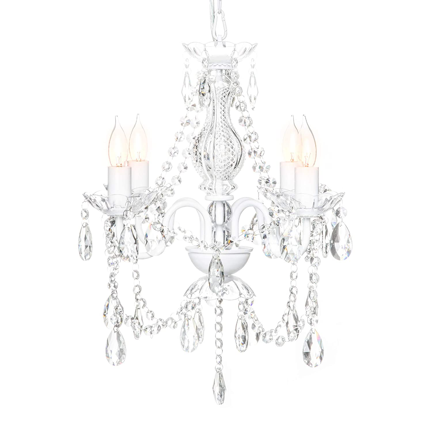 Best Choice Products Elegant Acrylic Crystal Chandelier Ceiling Light  Fixture for Dining Room, Foyer, Bedroom - White