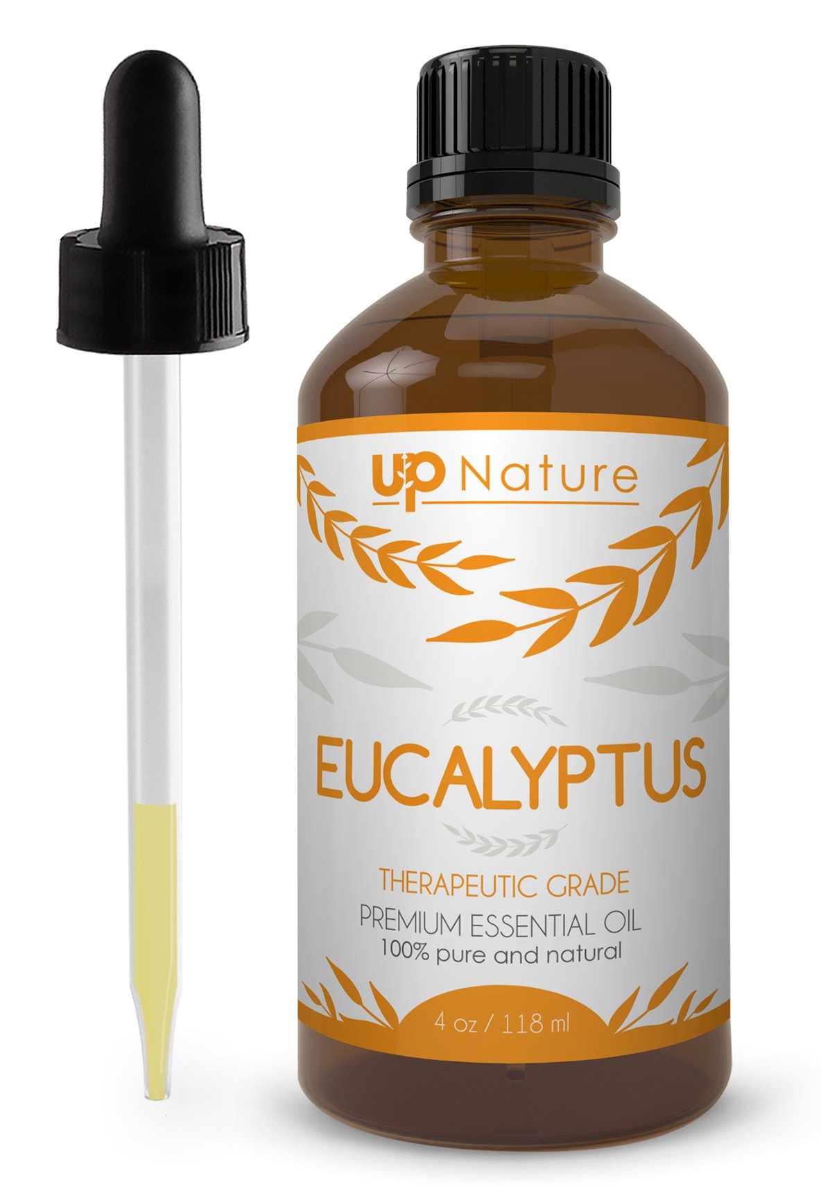 UpNature The Best Eucalyptus Essential Oil 4 OZ - UpNature - 100% Pure & Natural, Premium Therapeutic Aromatherapy Grade - With Glass Dropper - Use It To Breathe Easy & Sleep Longer. Perfect For Sauna