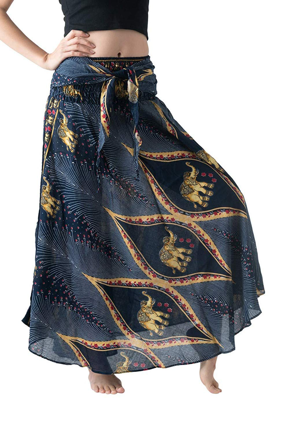 Women Maxi Skirt Long Hippie Bohemian Gypsy Boho Flowers Elastic Waist Floral Skirt Loose Swing Skirt Sundress Navy by UCQueen