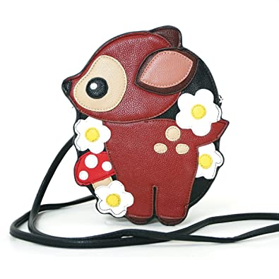 06c932527388 Sleepyville Critters Cute Woodland Bambi Deer Faux Leather Cross Body Purse   Handbags  Amazon.com