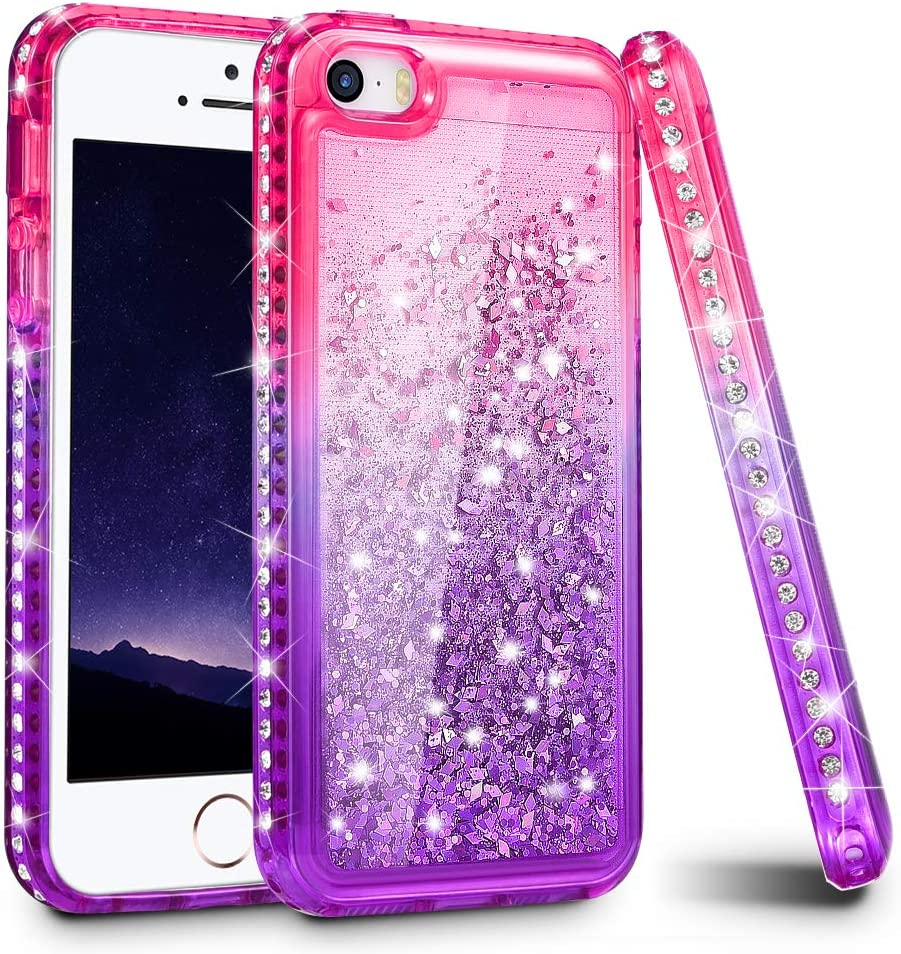 Ruky iPhone 5 5S Case, iPhone SE Case (2016), Gradient Quicksand Series Glitter Flowing Liquid Floating Sparkly Bling Diamond Soft TPU Girls Women Cute Case for iPhone 5 5S SE (Pink Purple)