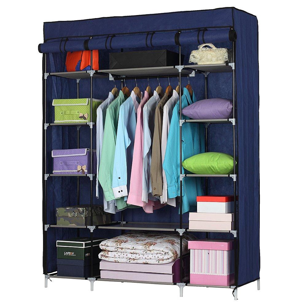 Lykos 5-Layer 12-Compartment Non-Woven Fabric Wardrobe Portable Closet Navy (133x46x170cm) by Lykos