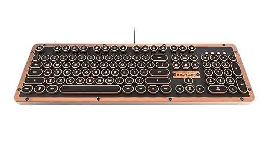 AZIO Retro Classic Artisan - Teclado mecánico retroiluminado USB de Lujo Vintage (Interruptor Azul, Piel Negra, Marco de aleación de Zinc) ...