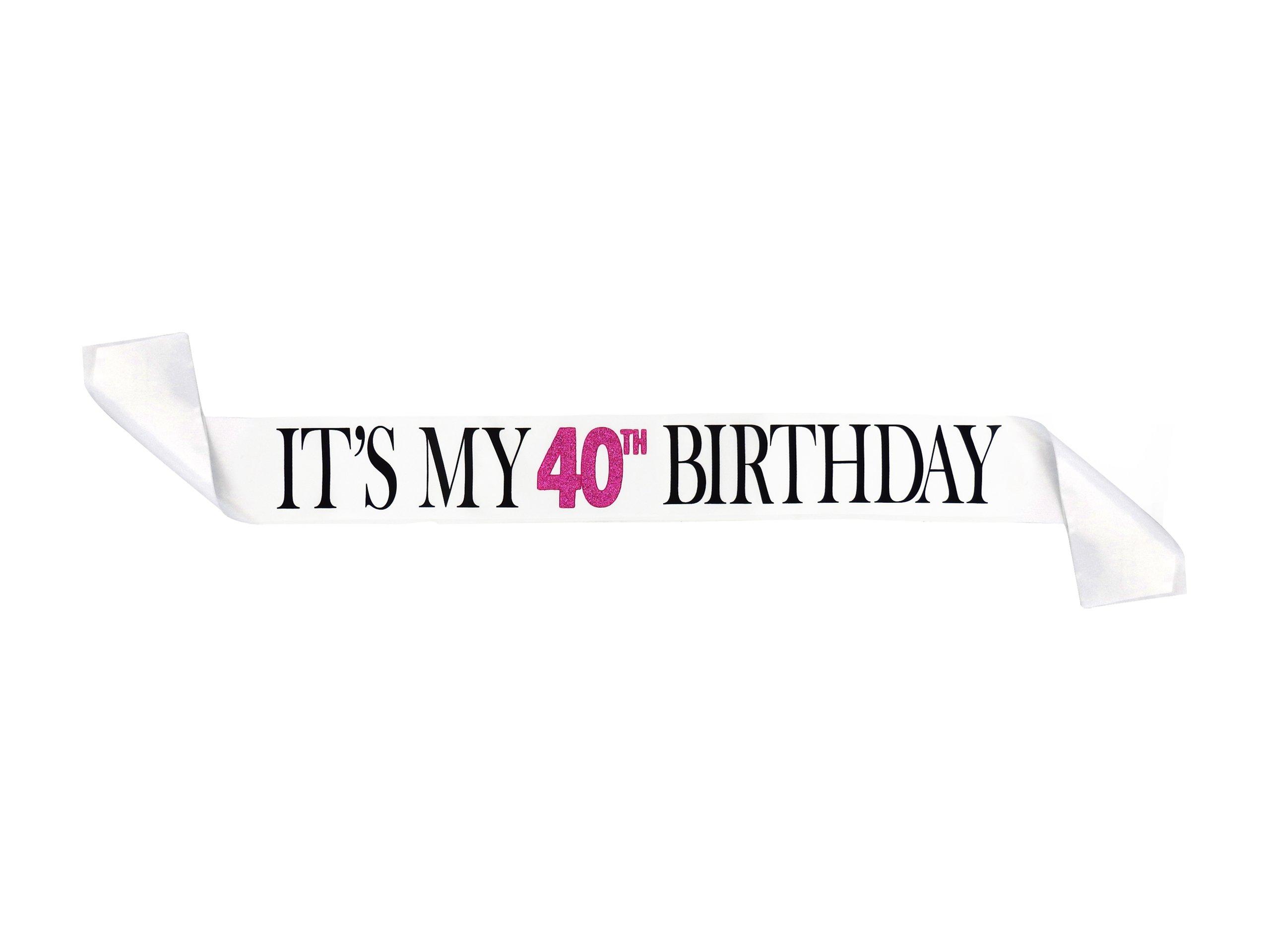 Its My 40th Birthday White Glitter Satin Sash ? Happy Birthday Party ...