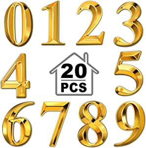 20 Pieces 3D Mailbox Numbers 0-9 Self-Adhesive 2 Inch Address Number Stickers Door House Numbers Style Street Mailbox Sign for Apartment Home Office (Golden)