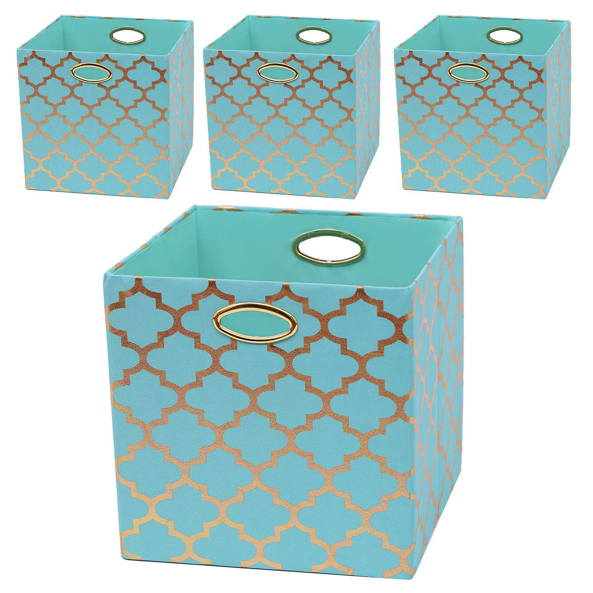 Posprica Storage Bins, 13×13 Foldable Storage Cubes Baskets Boxes Containers Closet Organizers,More Durable Fabric Drawers (4pcs, Aqua/Gold Lantern) by Posprica