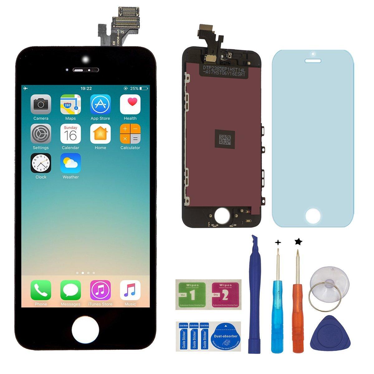 BBSELL LCD Pantalla Táctil Reemplazo De Marco Digital Un Conjunto Completo De Herramientas y Montaje Pantalla De Vidrio Protector Para IPhone 5 4.0″ (Negro)