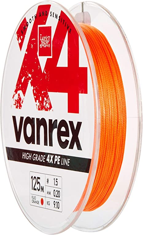 Lucky John 0,14mm Geflochtene Angelschnur X4 Vanrex 125m Orange