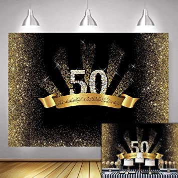 Fanghui 7x5ft 50th Birthday Photography Background Gold and Black Golden Glitter Diamonds Shiny Backdrop Fifty Years Old Age Party Decor Banner Photo ...