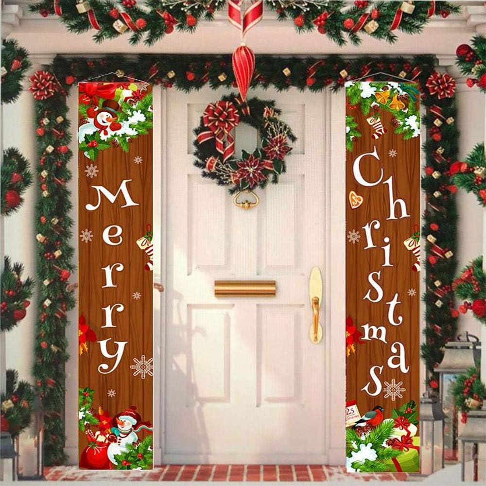 Sunwuun Cartel de Navidad para porche de feliz Navidad, decoración de puerta de Navidad para interior y exterior (marrón)