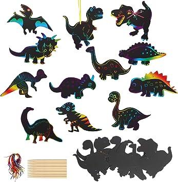 Outus 48 St/ücke Dinosaurier Kratzpapier Regenbogen Kratzpapier Dinosaurier Bastel Kunst Set mit 24 St/ücke Holzstiften und 48 St/ücke B/ändern f/ür Dinosaurier Geburtstag Party Zubeh/ör