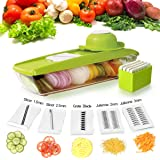 Mandoline Slicer Vegetable Cutter Chopper Grater Zacfton Food Vegetable Fruit Slicer Grater Straight Julienne Vegetable Slicer Food Storage with 5 Interchangeable Blades and Hand Protector