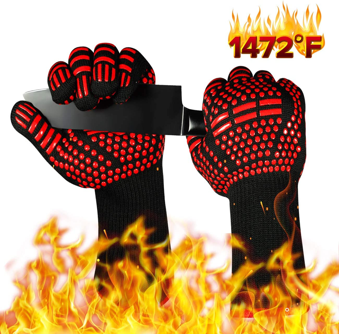 ISSEVE BBQ Gloves 1472°F Extreme Heat Resistant Grill Oven Glove for Barbecue Grilling Cooking Kitchen Baking Welding 13.5
